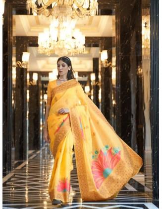Yellow Linen Weaving Party Wear Saree