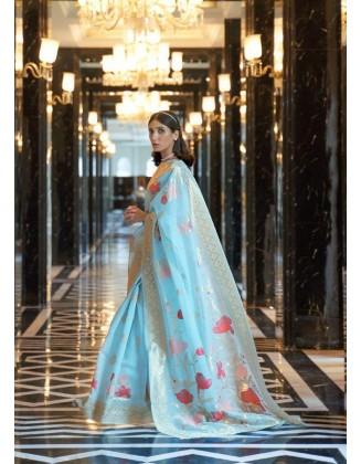 Sky Blue Linen Weaving Party Wear Saree