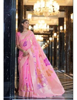 Pink Linen Weaving Party Wear Saree