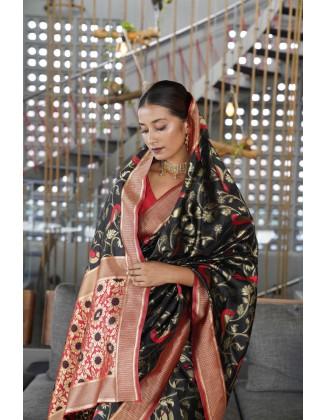 Black Traditional Kanjivaram Woven Designer Silk Saree