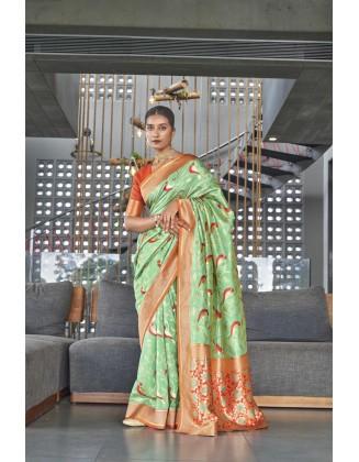 Green Traditional Kanjivaram Woven Designer Silk Saree