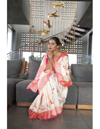 White Traditional Kanjivaram Woven Designer Silk Saree