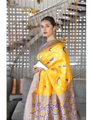 Yellow Traditional Kanjivaram Woven Designer Silk Saree