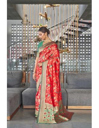 Red Traditional Kanjivaram Woven Designer Silk Saree