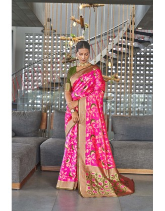 Pink Traditional Kanjivaram Woven Designer Silk Saree