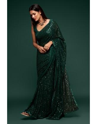 Dark Green Designer Party Wear Georgette Saree