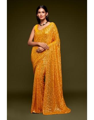 Yellow Designer Party Wear Georgette Saree