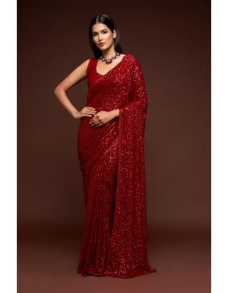 Red Designer Party Wear Georgette Saree