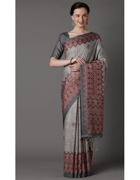 Alluring Grey Pashmina Silk Saree