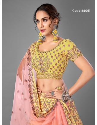 Gorgeous Yellow Georgette Party Wear Lehenga