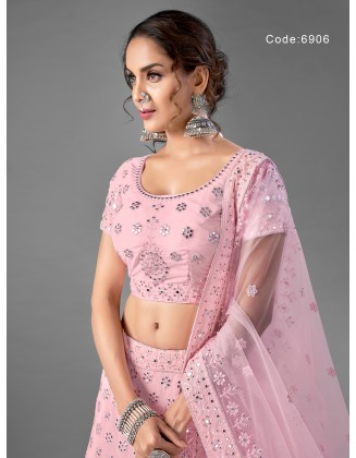 Gorgeous Pink Georgette Party Wear Lehenga