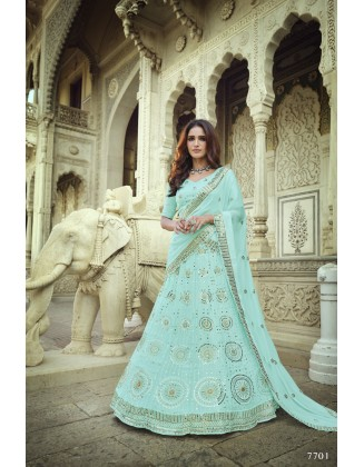 Turquoise Georgette Party Wear Lehenga