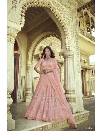 Beautiful Pink Georgette Party Wear Lehenga