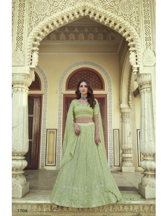 Lime Green Turquoise Georgette Party Wear Lehenga