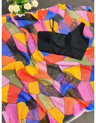 Alluring Multi Color Pure Moss Georgette Saree