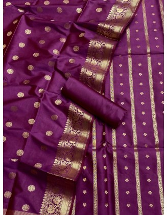 Purple Banarasi Flora Double Zari Weaved Silk Suit