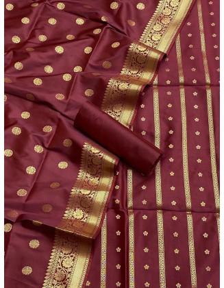 Maroon Banarasi Flora Double Zari Weaved Silk Suit
