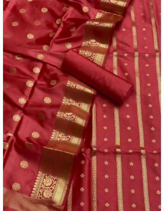 Red Banarasi Flora Double Zari Weaved Silk Suit