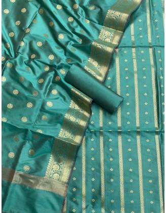 Turquoise Banarasi Flora Double Zari Weaved Silk Suit