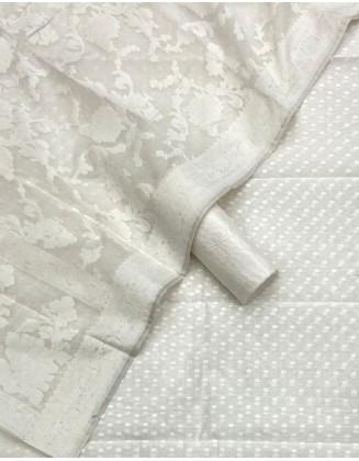 Graceful White Patola Resham Weaved Suit