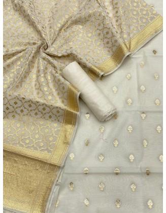 Alluring Off White Banarasi handloom Chanderi alfi Lorex Zari Weaved Suit