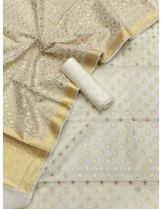 Lovely Off White Banarasi handloom Chanderi alfi Lorex Zari Weaved Suit