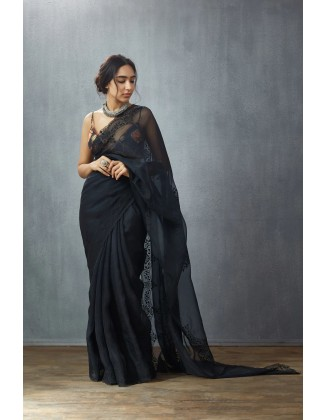 Pure Organza Saree With Heavy Embroidery Thread Work All Over And Digital Print Silk Blouse