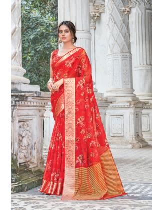 Beautiful Red Organza Saree