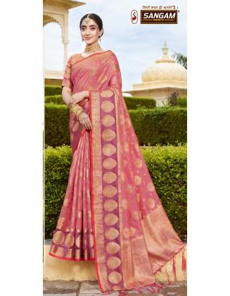 Glorious Pink Organza Saree