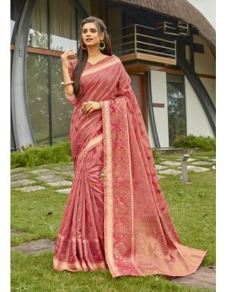 Pink Cotton Handloom Saree
