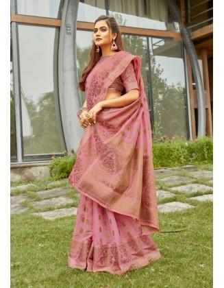 Light Pink Cotton Handloom Saree