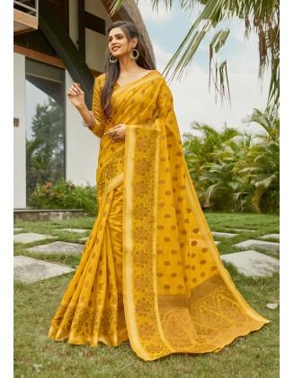 Yellow Cotton Handloom Saree