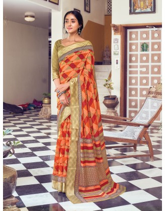 Coral And Red  Cotton Saree