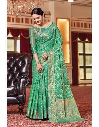 Turquoise Silk Saree