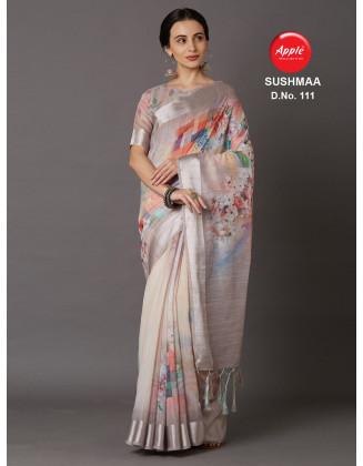 Alluring Multi Color Linen Saree