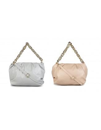 Panchnaina Stylish Sling Bag With Golden Chain Combo Peach-Grey