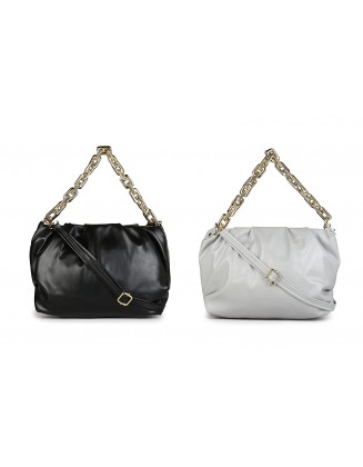 Panchnaina Stylish Sling Bag With Golden Chain Combo Black- Grey